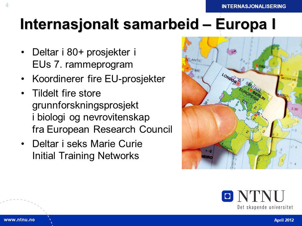 4 Internasjonalt samarbeid – Europa I Deltar i 80+ prosjekter i EUs 7. rammeprogram Koordinerer fire EU-prosjekter Tildelt fire store grunnforskningsp
