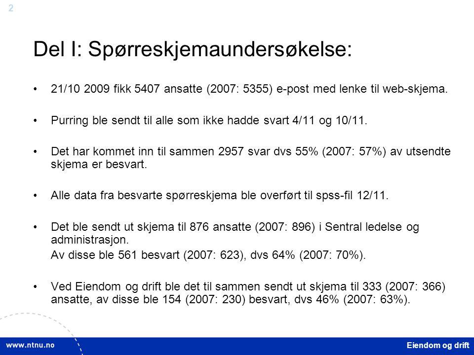 2 Eiendom og drift Del I: Spørreskjemaundersøkelse: 21/10 2009 fikk 5407 ansatte (2007: 5355) e-post med lenke til web-skjema. Purring ble sendt til a