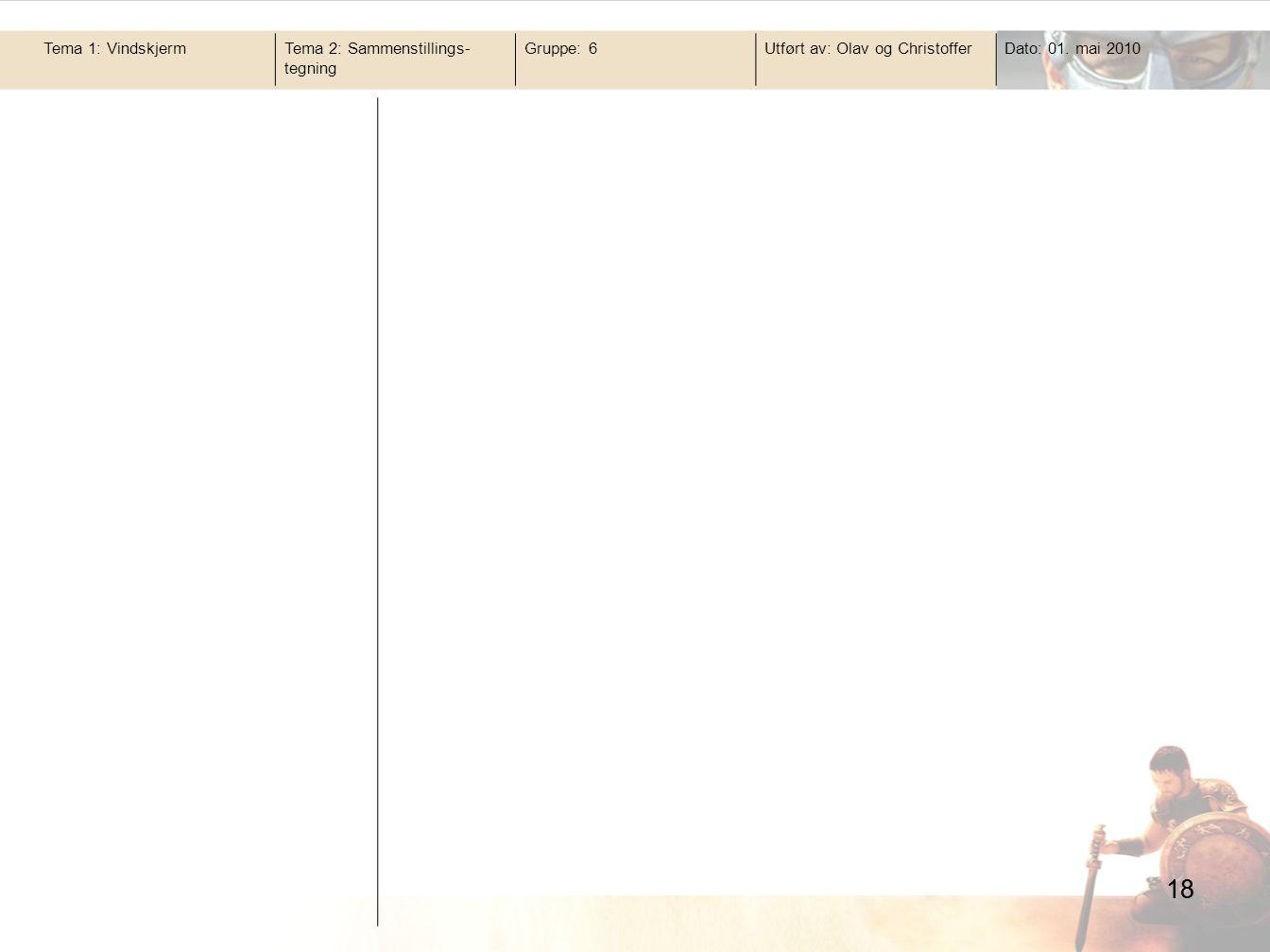 18 Tema 1: VindskjermTema 2: Sammenstillings- tegning Gruppe: 6Utført av: Olav og ChristofferDato: 01. mai 2010 18