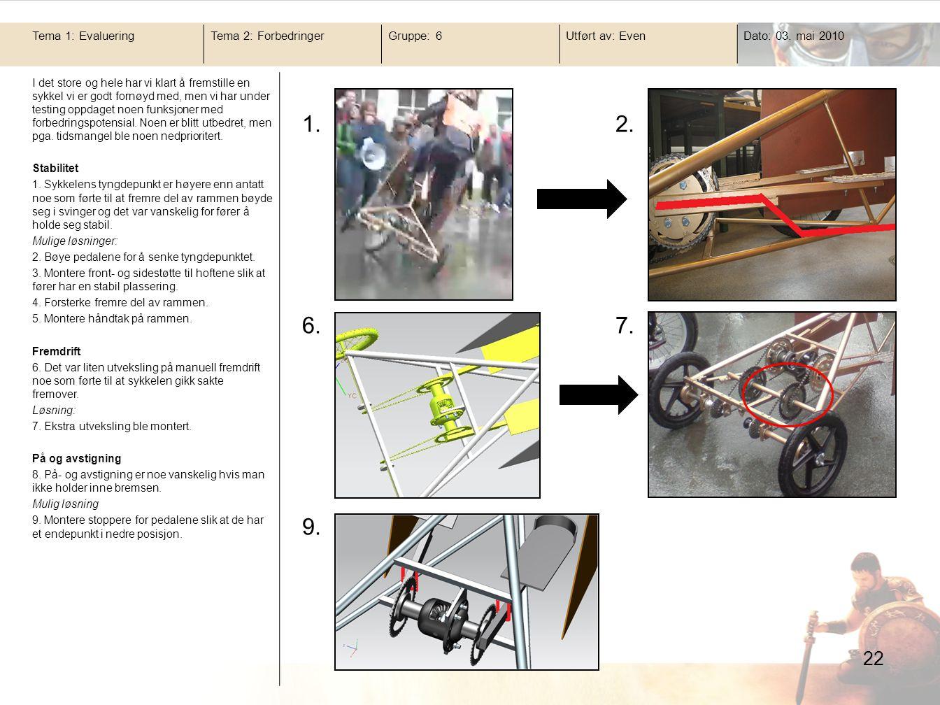 22 Tema 1: EvalueringTema 2: ForbedringerGruppe: 6Utført av: EvenDato: 03. mai 2010 I det store og hele har vi klart å fremstille en sykkel vi er godt