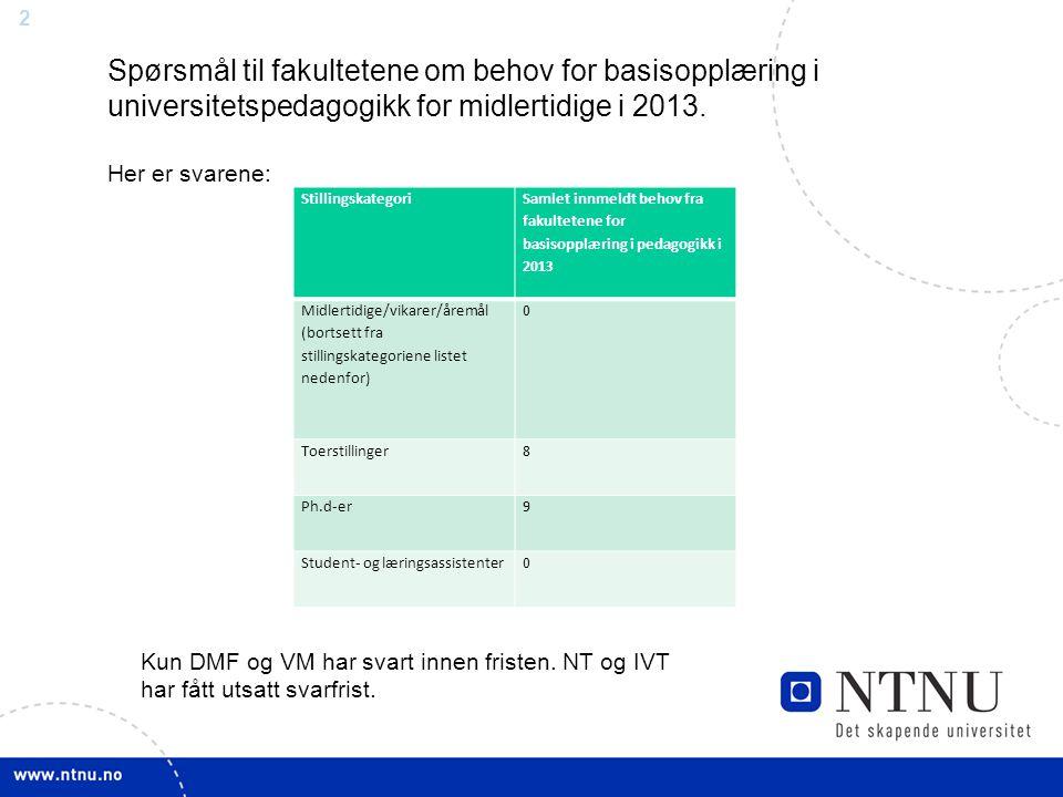 2 Stillingskategori Samlet innmeldt behov fra fakultetene for basisopplæring i pedagogikk i 2013 Midlertidige/vikarer/åremål (bortsett fra stillingska