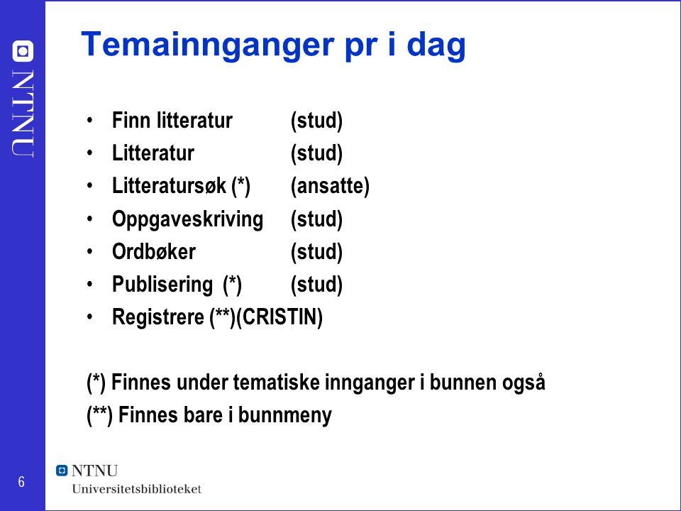 6 Temainnganger pr i dag Finn litteratur(stud) Litteratur(stud) Litteratursøk (*)(ansatte) Oppgaveskriving(stud) Ordbøker(stud) Publisering(*)(stud) Registrere (**)(CRISTIN) (*) Finnes under tematiske innganger i bunnen også (**) Finnes bare i bunnmeny