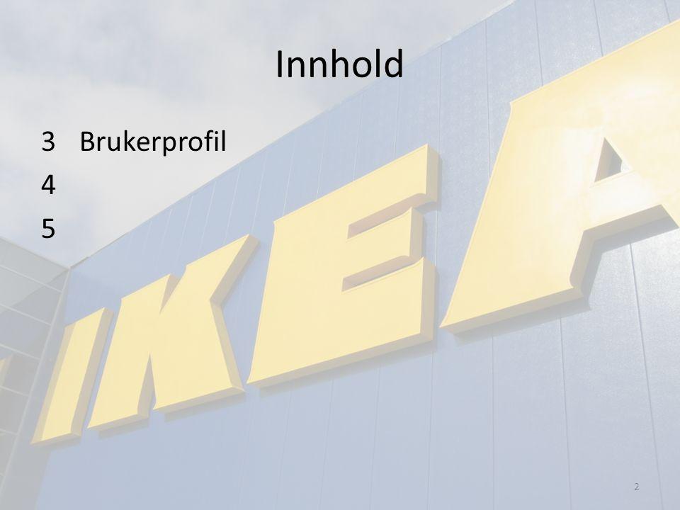 Tema 1: BrukerprofilTema 2: Bruker, bruksmåte, brukssituasjon og produktegenskaper Hvem: Gruppe 106 Utført av: Dato: 28.09.2010 Bruker: Kunde hos Ikea, typisk student som ikke allerede har drill til bruk av montering av Ikea- møbler.