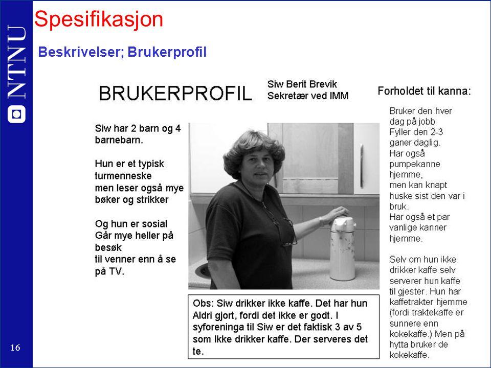17 Bruker og bruksanalyser; Brukeren (kunder); Brukssituasjon Finn de typiske situasjonene.