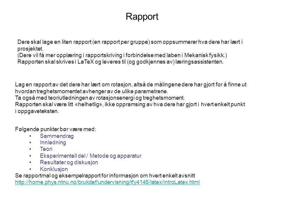 Rapport Dere skal lage en liten rapport (en rapport per gruppe) som oppsummerer hva dere har lært i prosjektet. (Dere vil få mer opplæring i rapportsk