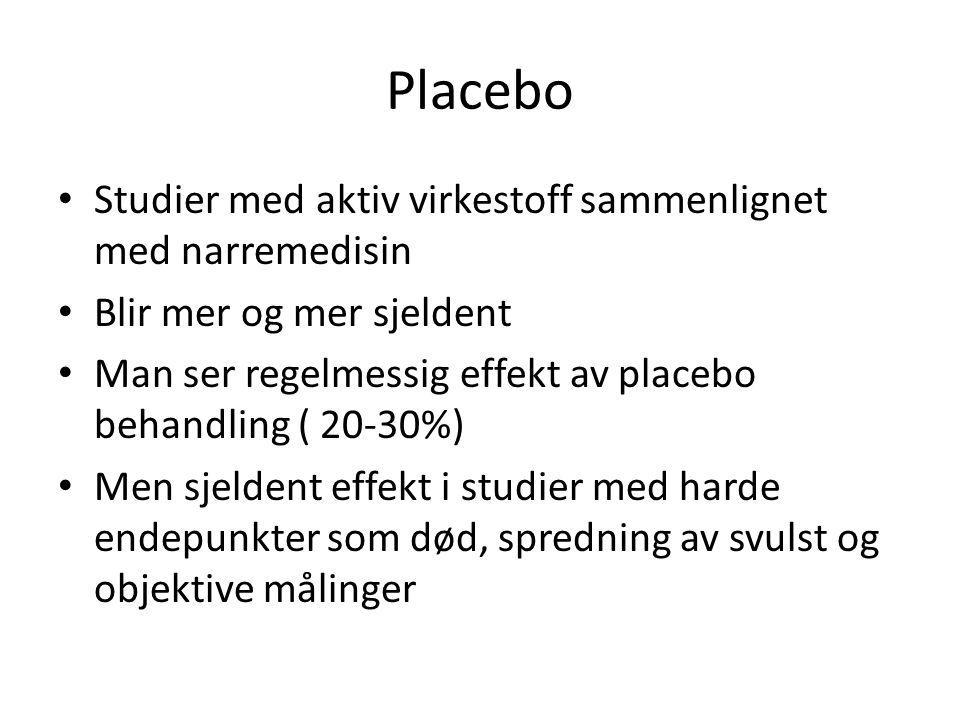 Placebo Studier med aktiv virkestoff sammenlignet med narremedisin Blir mer og mer sjeldent Man ser regelmessig effekt av placebo behandling ( 20-30%)