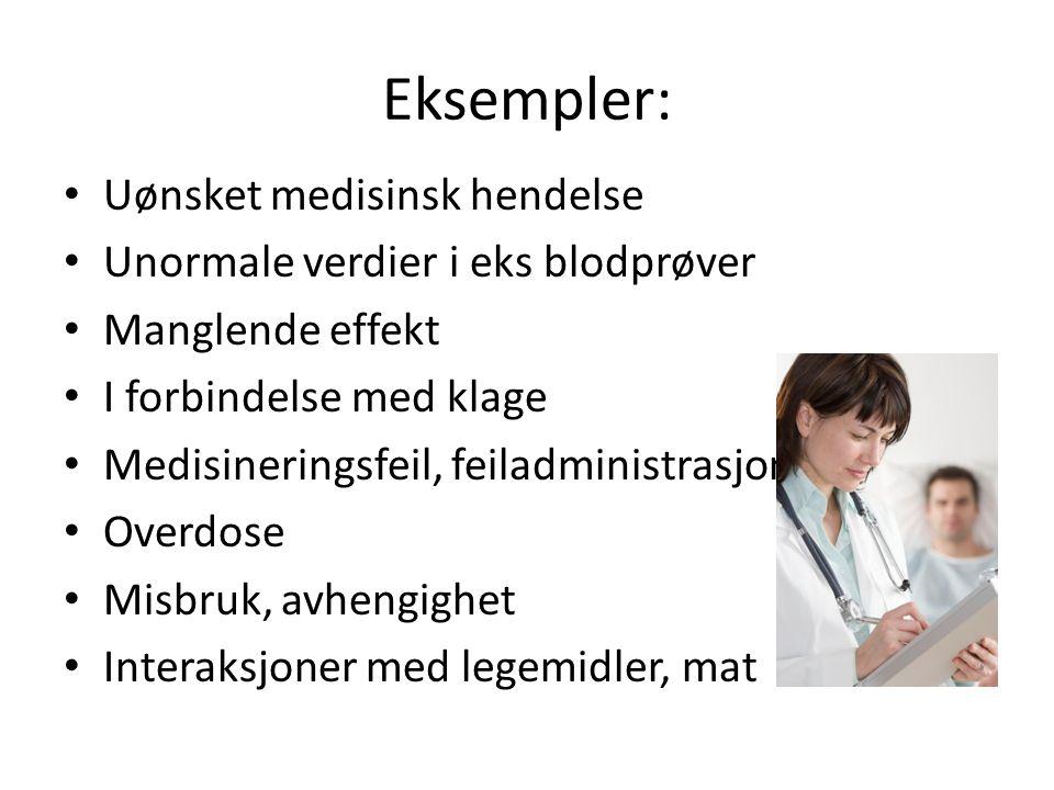 Eksempler: Uønsket medisinsk hendelse Unormale verdier i eks blodprøver Manglende effekt I forbindelse med klage Medisineringsfeil, feiladministrasjon