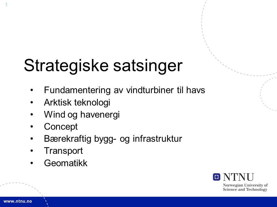 1 Strategiske satsinger Fundamentering av vindturbiner til havs Arktisk teknologi Wind og havenergi Concept Bærekraftig bygg- og infrastruktur Transpo