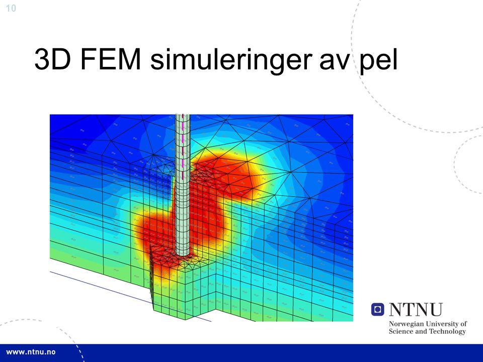 10 3D FEM simuleringer av pel
