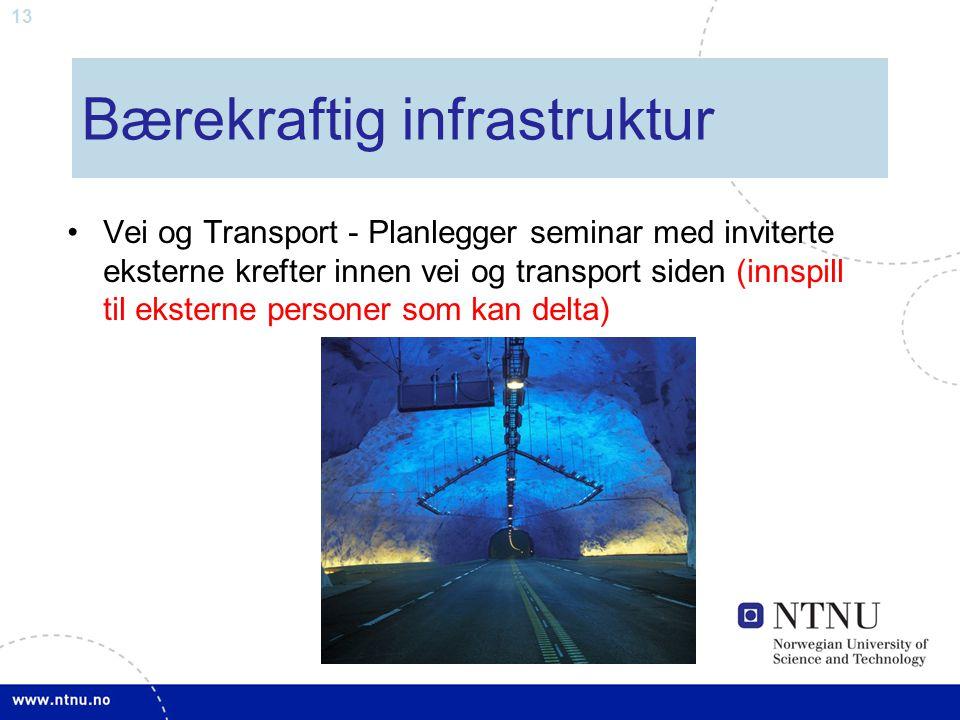 13 Vei og Transport - Planlegger seminar med inviterte eksterne krefter innen vei og transport siden (innspill til eksterne personer som kan delta) Bæ