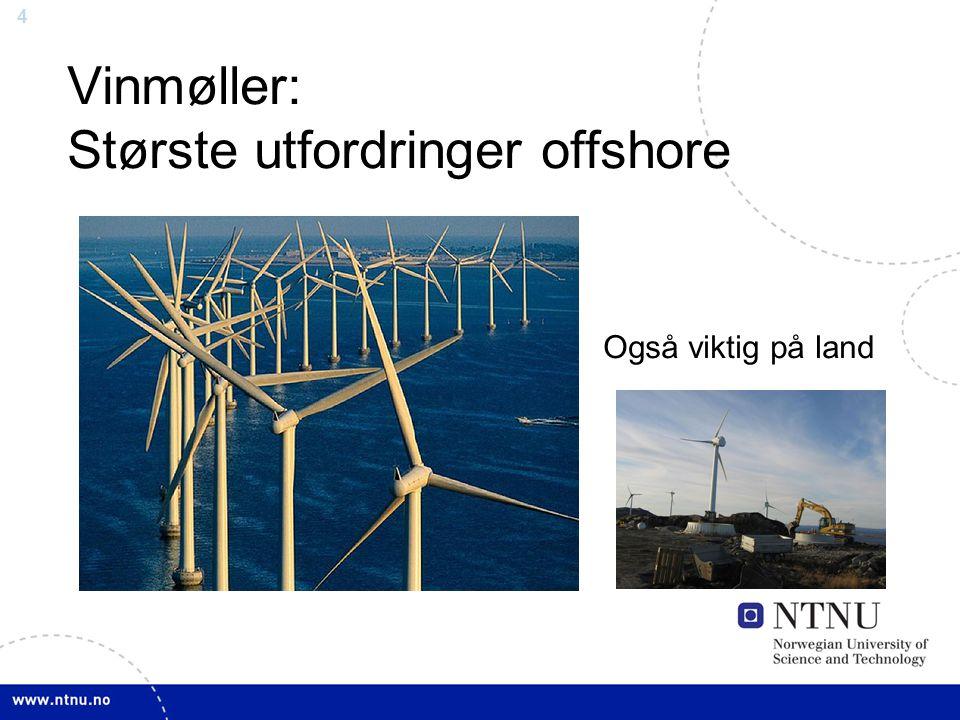 4 Vinmøller: Største utfordringer offshore Også viktig på land