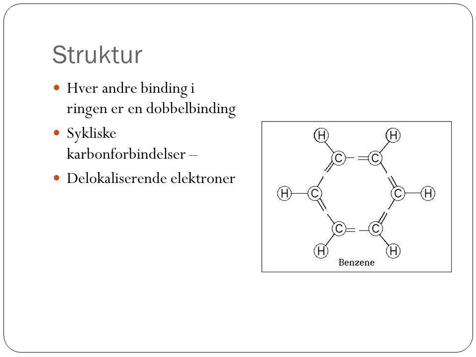 Struktur Hver andre binding i ringen er en dobbelbinding Sykliske karbonforbindelser – Delokaliserende elektroner