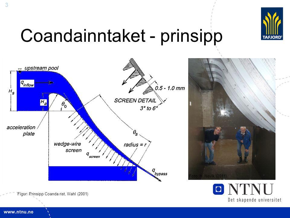 3 Coandainntaket - prinsipp Figur: Prinsipp Coanda rist, Wahl (2001) Foto: H. Nøvik (2011)