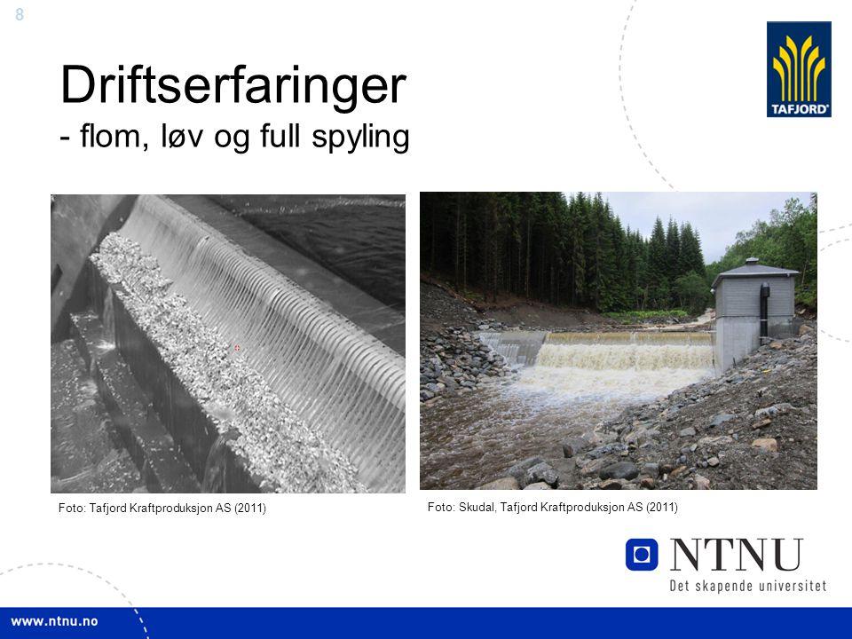 8 Driftserfaringer - flom, løv og full spyling Foto: Skudal, Tafjord Kraftproduksjon AS (2011) Foto: Tafjord Kraftproduksjon AS (2011)