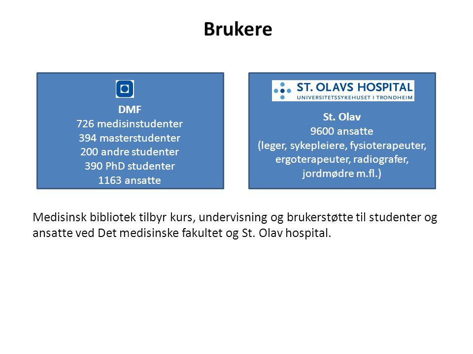 DMF 726 medisinstudenter 394 masterstudenter 200 andre studenter 390 PhD studenter 1163 ansatte St. Olav 9600 ansatte (leger, sykepleiere, fysioterape