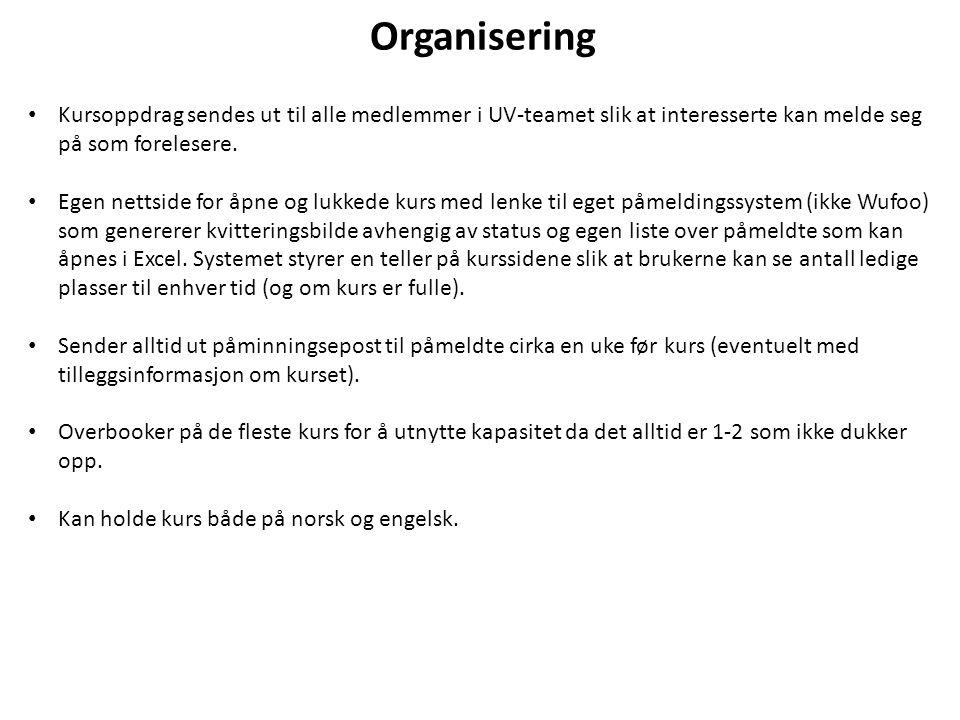 Organisering Kursoppdrag sendes ut til alle medlemmer i UV-teamet slik at interesserte kan melde seg på som forelesere. Egen nettside for åpne og lukk