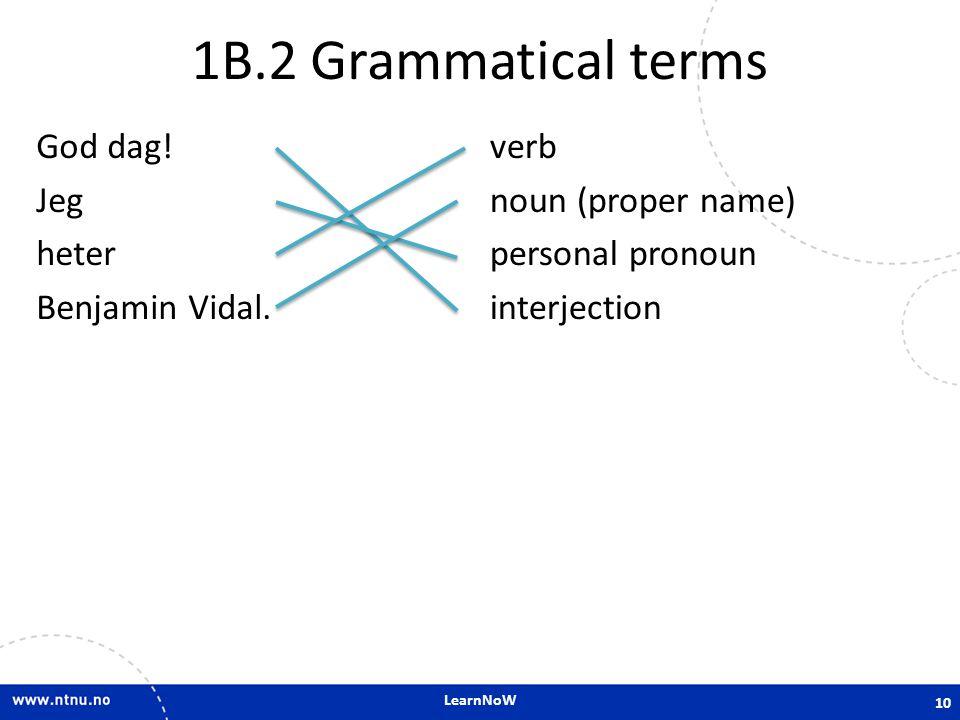 LearnNoW 1B.2 Grammatical terms God dag! Jeg heter Benjamin Vidal. verb noun (proper name) personal pronoun interjection 10
