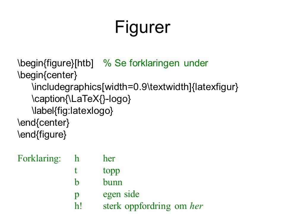 Figurer \begin{figure}[htb]% Se forklaringen under \begin{center} \includegraphics[width=0.9\textwidth]{latexfigur} \caption{\LaTeX{}-logo} \label{fig