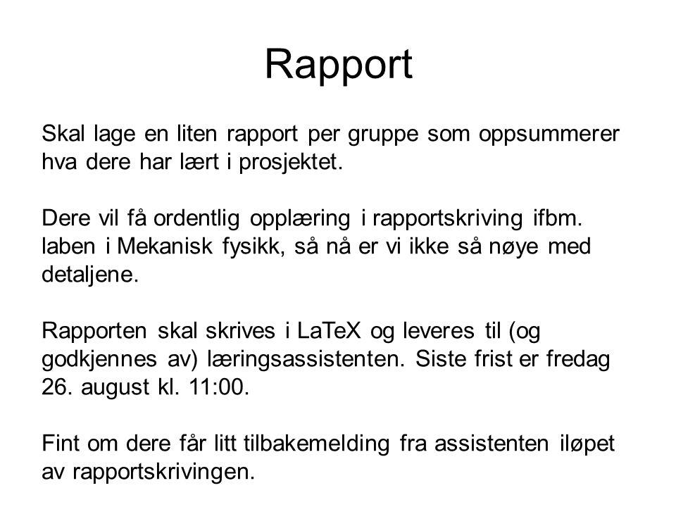 Rapport Skal lage en liten rapport per gruppe som oppsummerer hva dere har lært i prosjektet. Dere vil få ordentlig opplæring i rapportskriving ifbm.