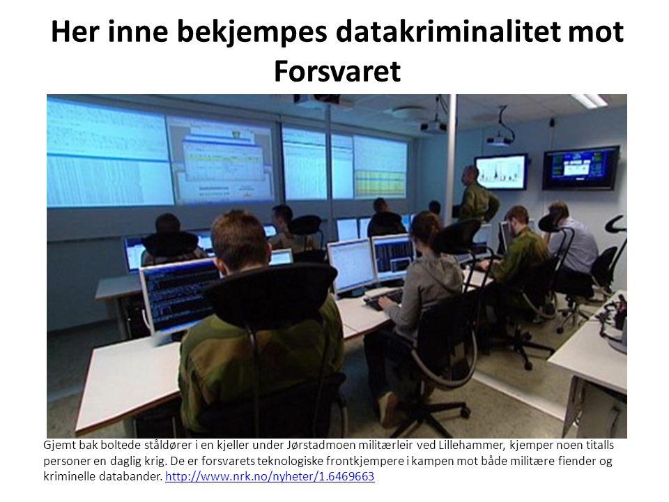 Her inne bekjempes datakriminalitet mot Forsvaret Gjemt bak boltede ståldører i en kjeller under Jørstadmoen militærleir ved Lillehammer, kjemper noen