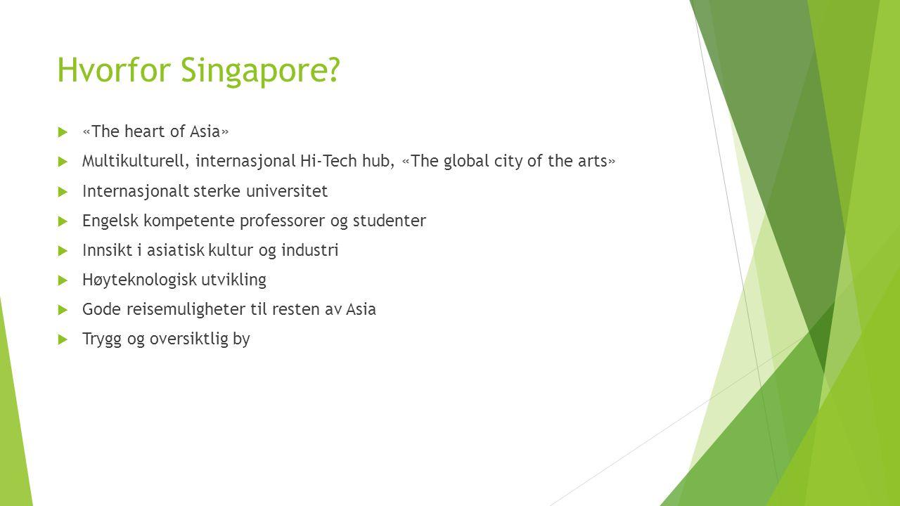 Hvorfor Singapore?  «The heart of Asia»  Multikulturell, internasjonal Hi-Tech hub, «The global city of the arts»  Internasjonalt sterke universite