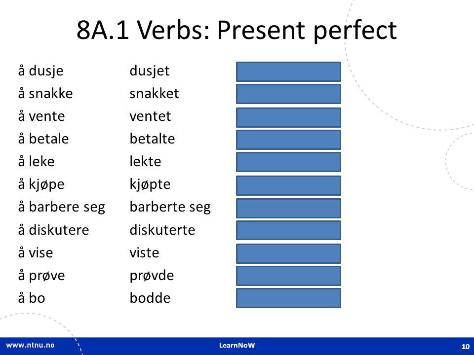 LearnNoW 8A.1 Verbs: Present perfect å dusjedusjethar dusjet å snakkesnakkethar snakket å venteventethar ventet å betalebetaltehar betalt å lekelekteh