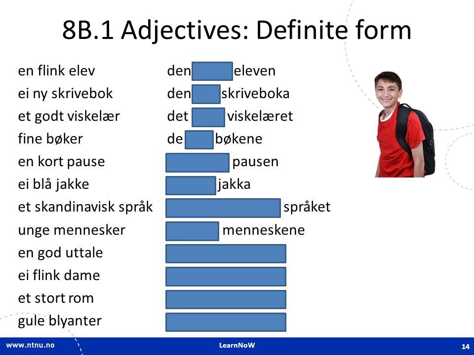 LearnNoW 8B.1 Adjectives: Definite form en flink elev den flinke eleven ei ny skrivebok den nye skriveboka et godt viskelær det gode viskelæret fine b