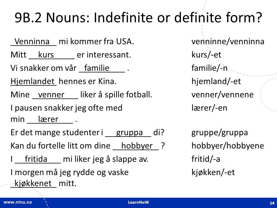 LearnNoW 9B.2 Nouns: Indefinite or definite form? __________ mi kommer fra USA. Mitt __________ er interessant. Vi snakker om vår __________. ________
