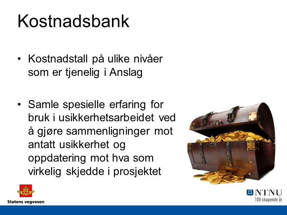 Kostnadsbank Kostnadstall på ulike nivåer som er tjenelig i Anslag Samle spesielle erfaring for bruk i usikkerhetsarbeidet ved å gjøre sammenligninger mot antatt usikkerhet og oppdatering mot hva som virkelig skjedde i prosjektet