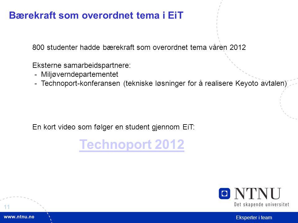 11 Eksperter i team Technoport 2012 Bærekraft som overordnet tema i EiT 800 studenter hadde bærekraft som overordnet tema våren 2012 Eksterne samarbei