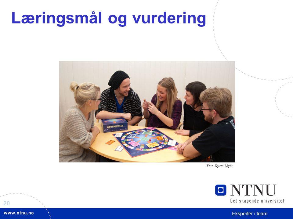20 Eksperter i team Læringsmål og vurdering Foto: Kjersti Myhr