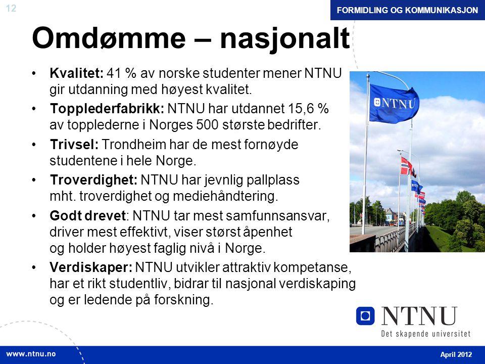 12 Omdømme – nasjonalt Kvalitet: 41 % av norske studenter mener NTNU gir utdanning med høyest kvalitet.