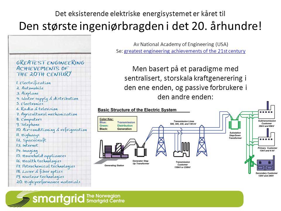 Det eksisterende elektriske energisystemet er kåret til Den største ingeniørbragden i det 20. århundre! Av National Academy of Engineering (USA) Se: g