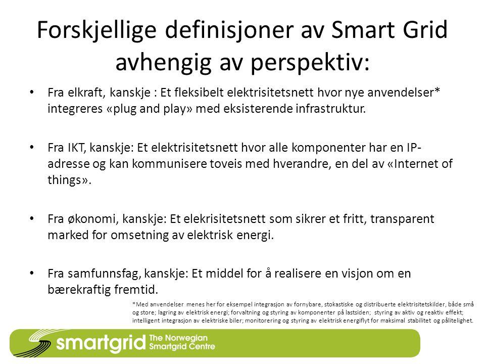 Forskjellige definisjoner av Smart Grid avhengig av perspektiv: Fra elkraft, kanskje : Et fleksibelt elektrisitetsnett hvor nye anvendelser* integrere