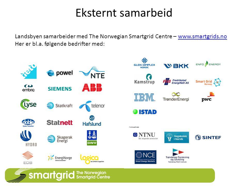Eksternt samarbeid Landsbyen samarbeider med The Norwegian Smartgrid Centre – www.smartgrids.nowww.smartgrids.no Her er bl.a. følgende bedrifter med: