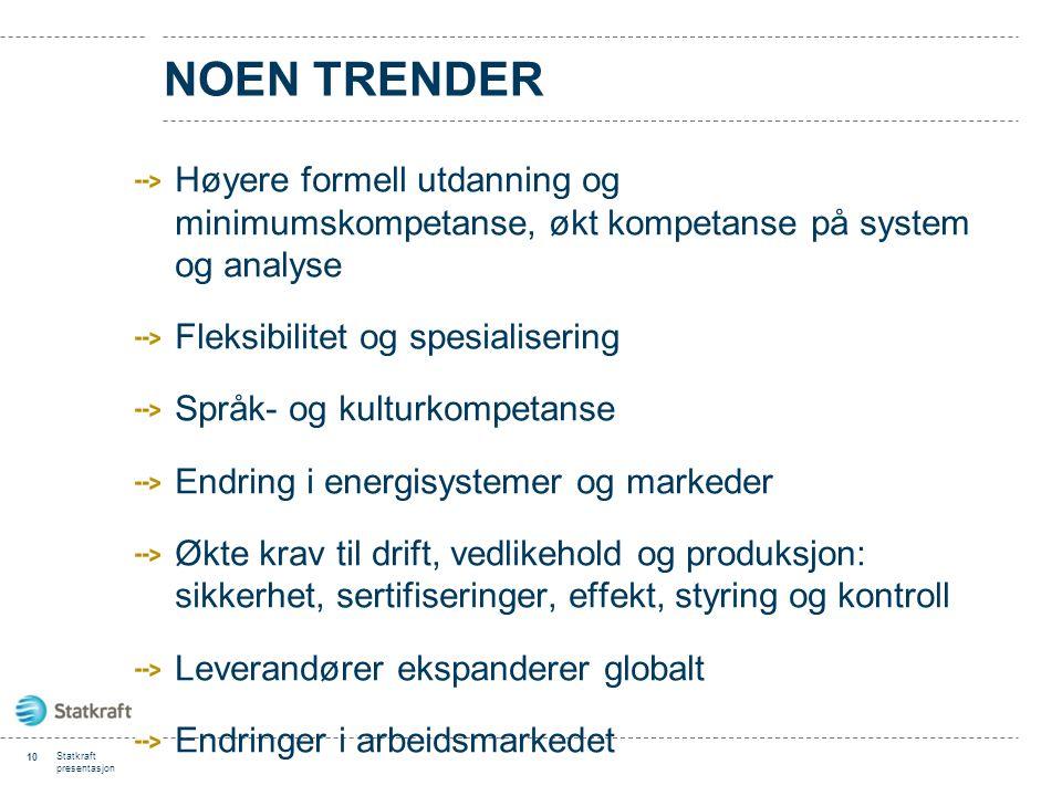 NOEN TRENDER Høyere formell utdanning og minimumskompetanse, økt kompetanse på system og analyse Fleksibilitet og spesialisering Språk- og kulturkompe
