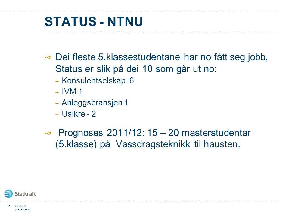 STATUS - NTNU Dei fleste 5.klassestudentane har no fått seg jobb, Status er slik på dei 10 som går ut no: Konsulentselskap 6 IVM 1 Anleggsbransjen 1 U