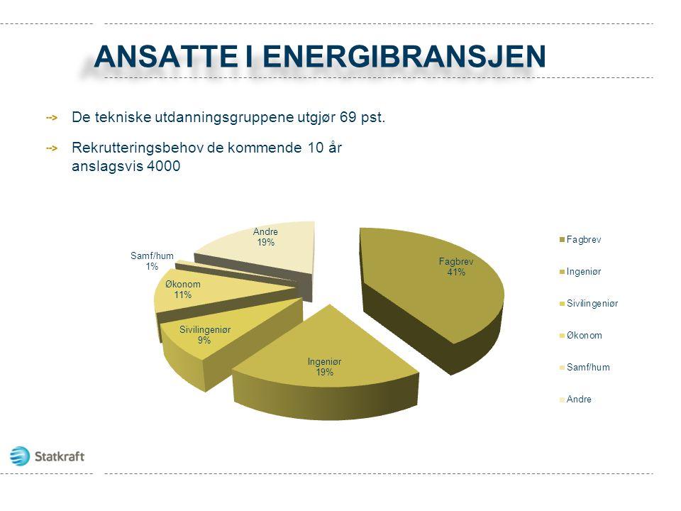 ANSATTE I ENERGIBRANSJEN De tekniske utdanningsgruppene utgjør 69 pst. Rekrutteringsbehov de kommende 10 år anslagsvis 4000