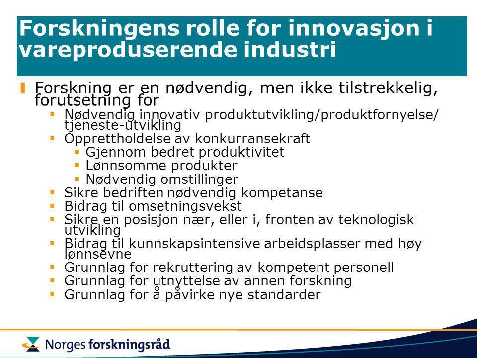 Forskningens rolle for innovasjon i vareproduserende industri Forskning er en nødvendig, men ikke tilstrekkelig, forutsetning for  Nødvendig innovati