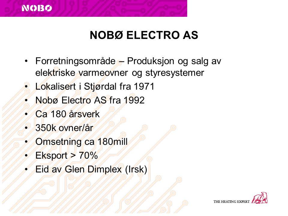 NOBØ ELECTRO AS Forretningsområde – Produksjon og salg av elektriske varmeovner og styresystemer Lokalisert i Stjørdal fra 1971 Nobø Electro AS fra 1992 Ca 180 årsverk 350k ovner/år Omsetning ca 180mill Eksport > 70% Eid av Glen Dimplex (Irsk)