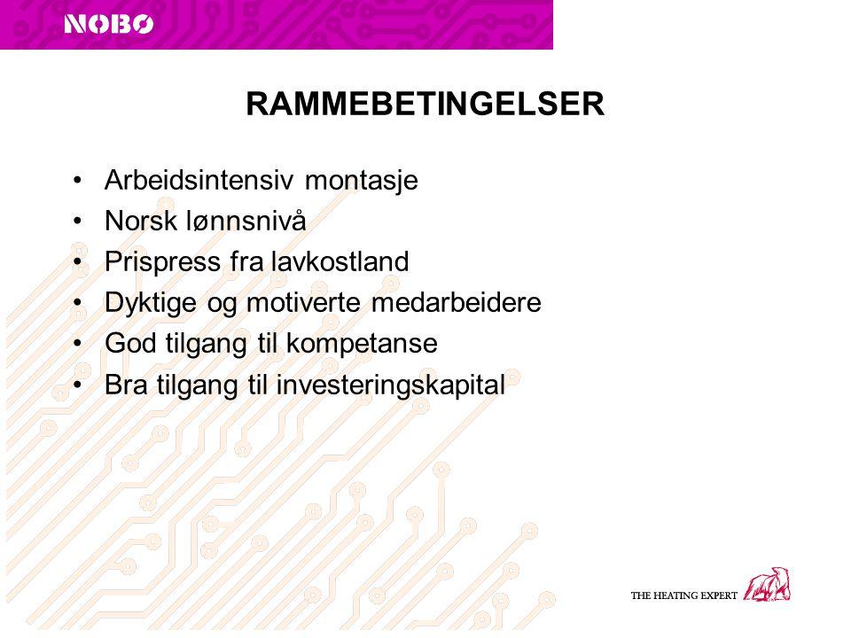 RAMMEBETINGELSER Arbeidsintensiv montasje Norsk lønnsnivå Prispress fra lavkostland Dyktige og motiverte medarbeidere God tilgang til kompetanse Bra tilgang til investeringskapital