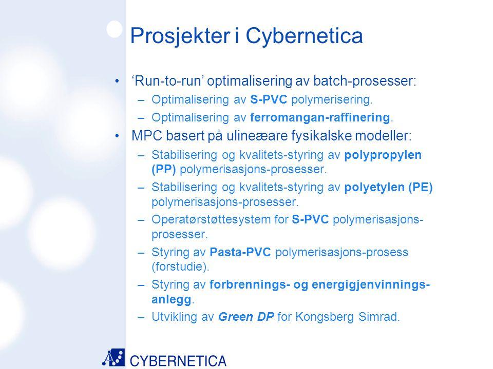 09/07/2014 Prosjekter i Cybernetica MPC basert på lineære modeller: –Modellprediktiv regulering av destillasjons- kolonner.