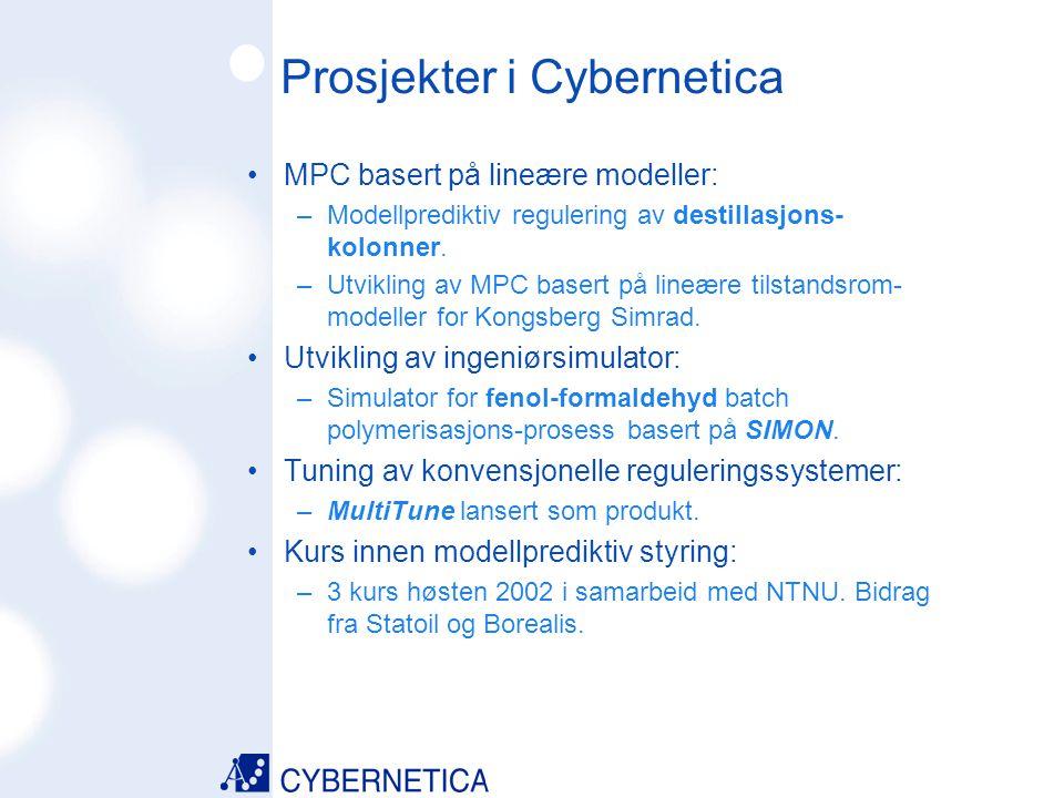 09/07/2014 Prosjekter i Cybernetica MPC basert på lineære modeller: –Modellprediktiv regulering av destillasjons- kolonner. –Utvikling av MPC basert p