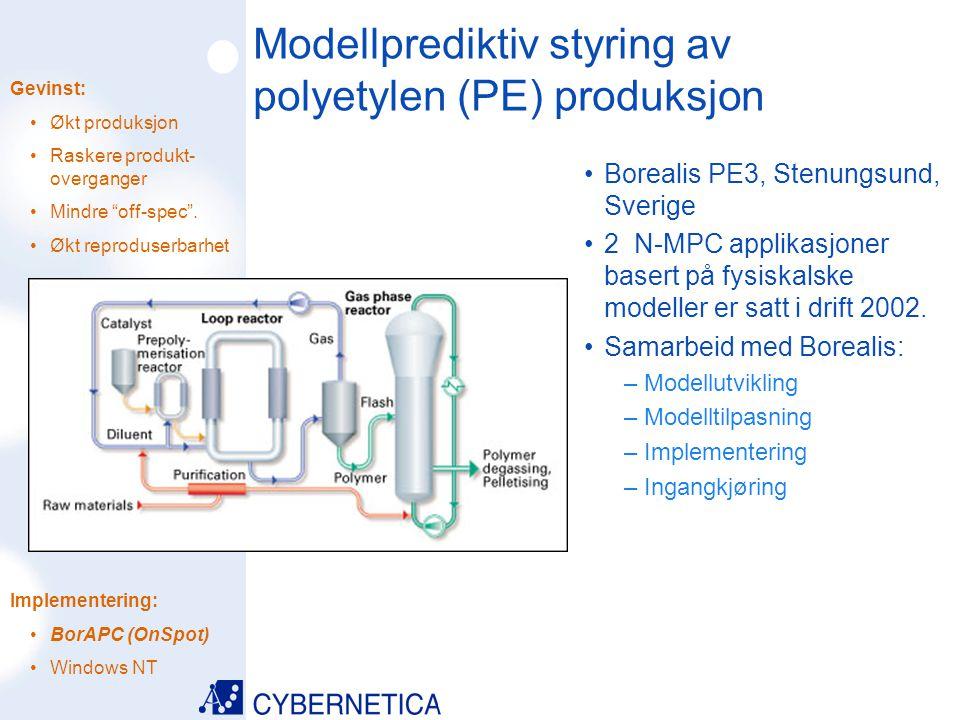 09/07/2014 Modellprediktiv styring av polyetylen (PE) produksjon Borealis PE2, Porvoo, Finland 2 N-MPC applikasjoner basert på fysiskalske modeller er i drift siden 1999.