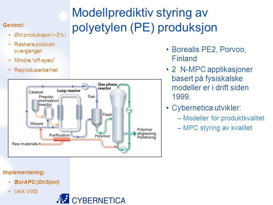 09/07/2014 Modellprediktiv styring av polyetylen (PE) produksjon Borealis PE2, Porvoo, Finland 2 N-MPC applikasjoner basert på fysiskalske modeller er