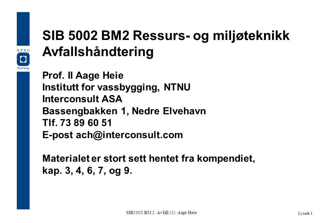 SIB5002 BM 2. Avfall (1). Aage Heie Lysark 1 SIB 5002 BM2 Ressurs- og miljøteknikk Avfallshåndtering Prof. II Aage Heie Institutt for vassbygging, NTN