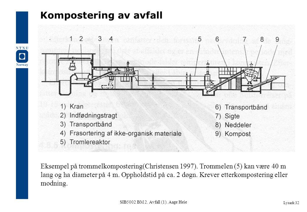 SIB5002 BM 2. Avfall (1). Aage Heie Lysark 32 Kompostering av avfall Eksempel på trommelkompostering(Christensen 1997). Trommelen (5) kan være 40 m la