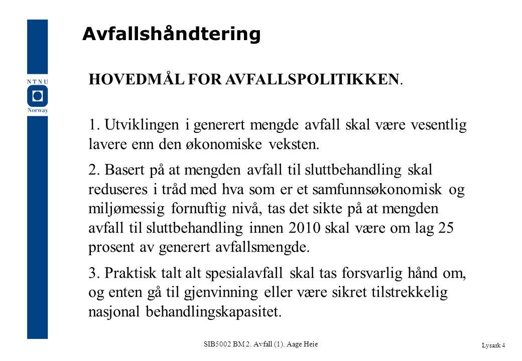 SIB5002 BM 2. Avfall (1). Aage Heie Lysark 4 Avfallshåndtering HOVEDMÅL FOR AVFALLSPOLITIKKEN. 1. Utviklingen i generert mengde avfall skal være vesen