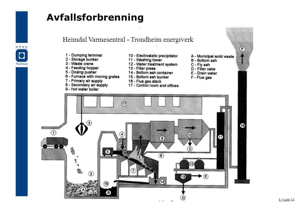 SIB5002 BM 2. Avfall (1). Aage Heie Lysark 44 Avfallsforbrenning Heimdal Varmesentral - Trondheim energiverk