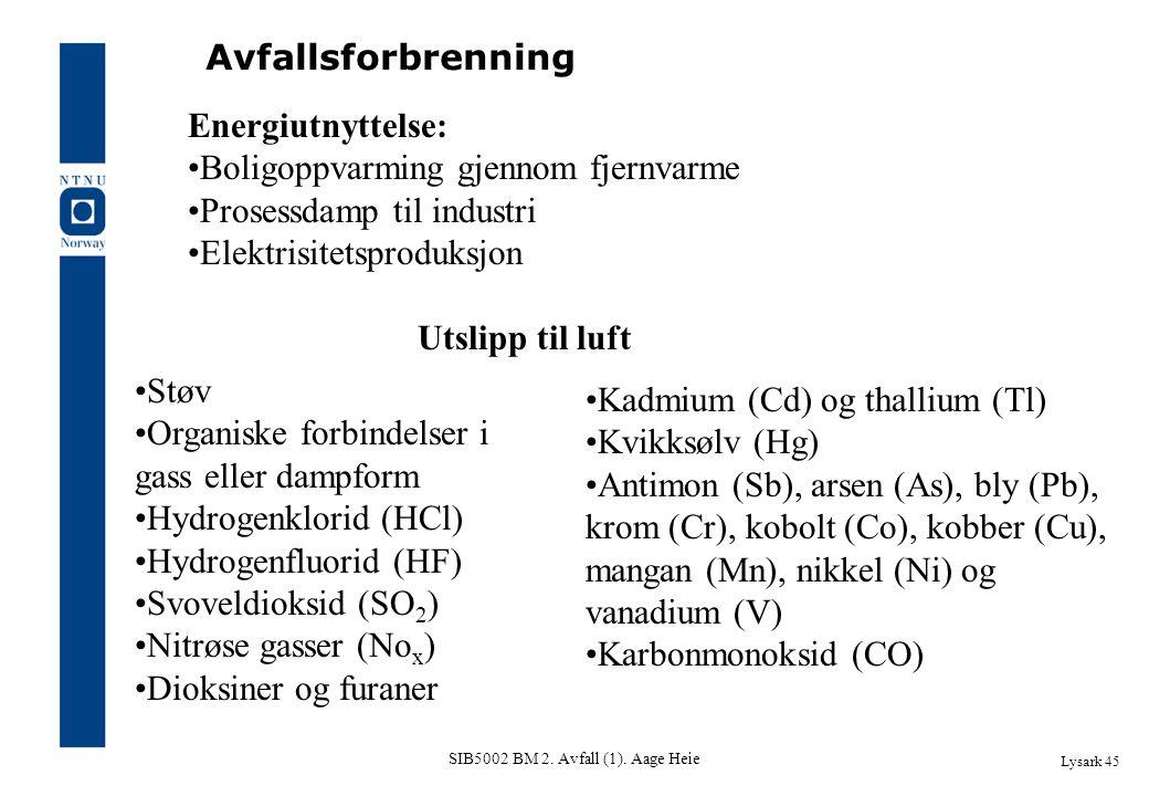 SIB5002 BM 2. Avfall (1). Aage Heie Lysark 45 Avfallsforbrenning Energiutnyttelse: Boligoppvarming gjennom fjernvarme Prosessdamp til industri Elektri
